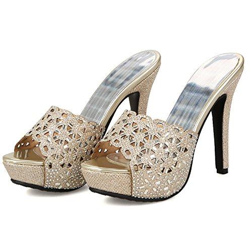 sandalias de tacones doratasia paño vestido sandalia abierta Dorado tacón Slide Stiletto puntera Mujer tqvzwA