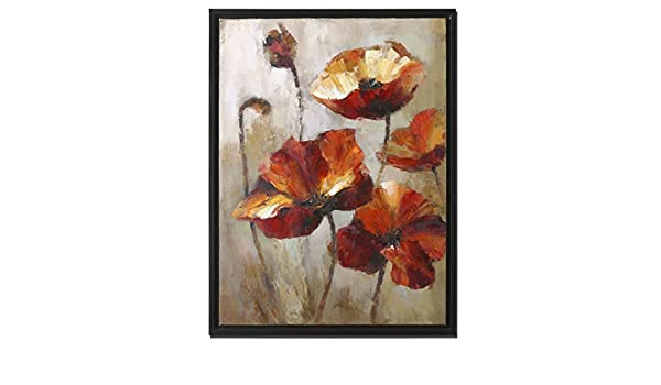 Contemporary Amazon Rust Red Orange Poppies Floral Painting Awesome - Simple orange flower painting For Your Plan