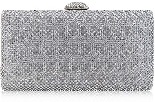 (Dexmay Large Rhinestone Crystal Clutch Evening Bag Women Clutch Purse for Cocktail Prom Party Silver )