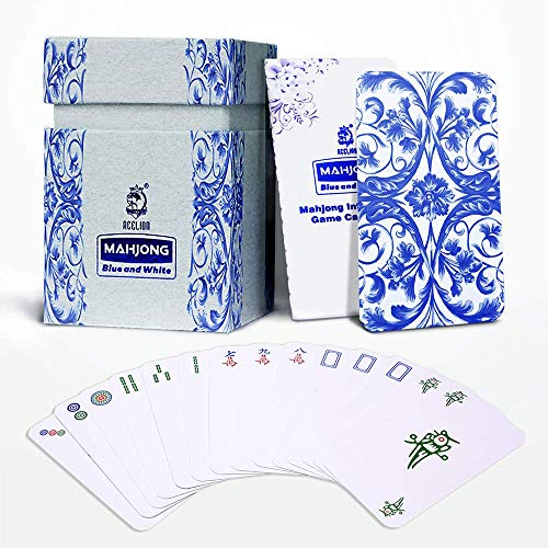 Mahjong Tile Intelligence Game Cards with Instruction, Mahjongg Playing Cards with Blue and White Porcelain Design