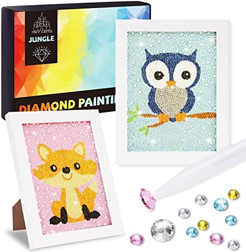 2 Pack Diamond painting kits for kids, Arts and Crafts for Kids, Girls & Boys, Easy Craft Kits Art Set, Diamond Painting Kit with Frame for Beginners, Gift for Kids Activities Age 6 7 8 9 10 11 12