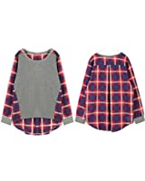 Rrimin Women Ladies Plaid Checked Long Sleeve Casual Loose T shirt Tops Blouse