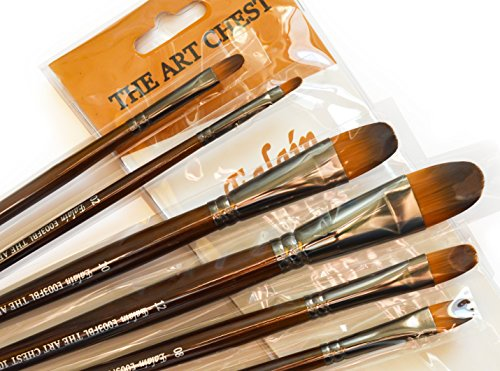 The Art Chest Filbert Artist Paint Brushes for Acrylic Watercolor Tempera Gouache Ink Oil Face Body Painting Prime Quality Synthetic No Shedding Professional Brush Set Lacquered Wood Long ()