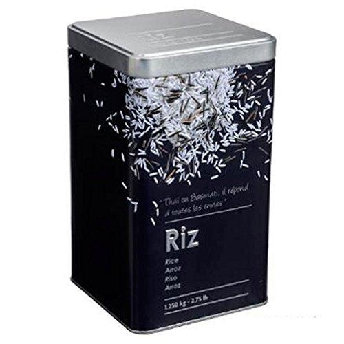 """Paris Prix - Boîte à Riz """"Relief II"""" 18cm Noir"""