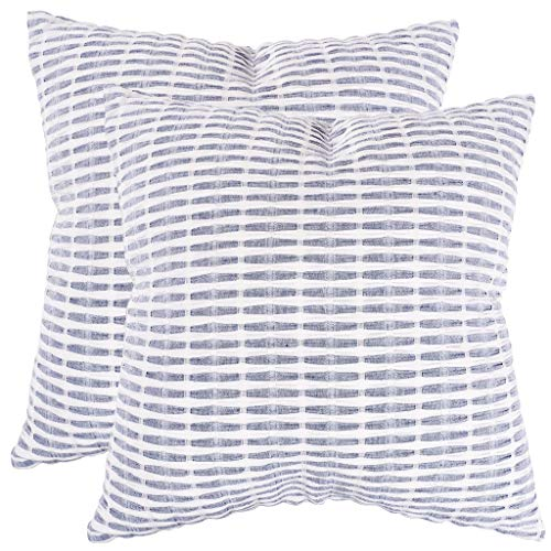 (KAF Home Pleated Please Pillow Cover 20 x 20-inch 100-Percent Cotton (Navy/White) Set of 2)