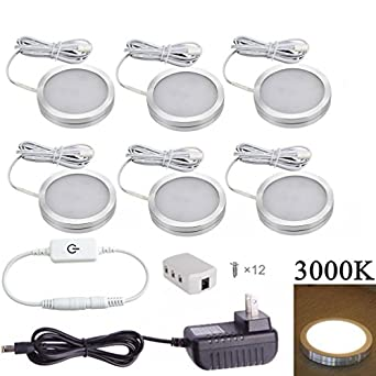 xking 6 pcs dimmable led under cabinet lighting kit dc12v12w warm white - Led Cabinet Lighting
