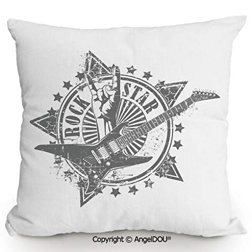 (AngelDOU Throw Pillow Cotton Linen Pillow Cover and Inserts,Stars with Rock Sign Monochrome Musical Instrument Design Rockstar Life Singing,Modern Home Office Sofa Bed Nice Decor.13.7x13.7 inches)