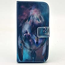 Galaxy Core LTE Case , Galaxy G386f Case ,Camiter Wolf Dream Catcher Design Premium PU Leather Wallet Folio Protective Skin Cover Case for Samsung Galaxy Core LTE G386f(Build In Stand Function/ Card Slot)