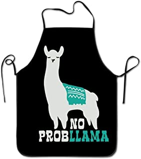 daawqee Tribal No Prob Llama Waterproof Kitchen Apron Chef Aprons for Kitchen Cooking Chef BBQ Adjustable Personalized Women Men Chef