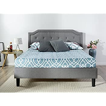 Zinus Upholstered Scalloped Button Tufted Platform Bed with Wooden Slat Support, King