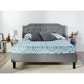 Zinus Upholstered Scalloped Button Tufted Platform Bed with Wooden Slat  Support   Design Award Finalist. Amazon com   Zinus Upholstered Button Tufted Platform Bed with