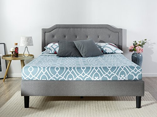 Zinus Kellen Upholstered Scalloped Button Tufted Platform Bed with Wooden Slat Support / Design Award Finalist, Queen