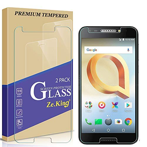 [2-Pack] Alcatel A30 Fierce 2017 Waltes 5049 5.5 inch Tempered Glass Screen Protector, Zeking 0.33mm 2.5D Edge 9H Hardness [Anti Scratch][Anti-Fingerprint] Bubble Free, Lifetime Replacement Warranty