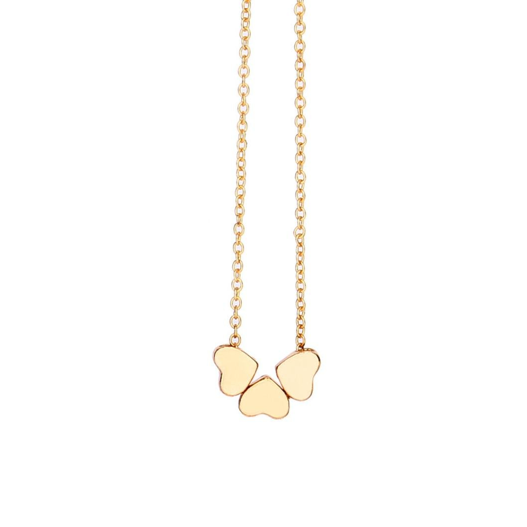 LLguz Ladies Elegant Fashion Beauty Charm Stainless Steel Heart-shaped Necklace Clavicle Chain Three Heart Pendant Chain