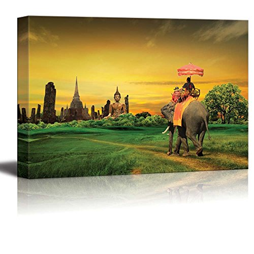 Wall26 - Canvas Prints Wall Art - Sunset Thai Countryside Thailand | Modern Wall Decor/ Home Decoration Stretched Gallery Canvas Wrap Giclee Print. Ready to Hang - 24'' x 36'' by wall26