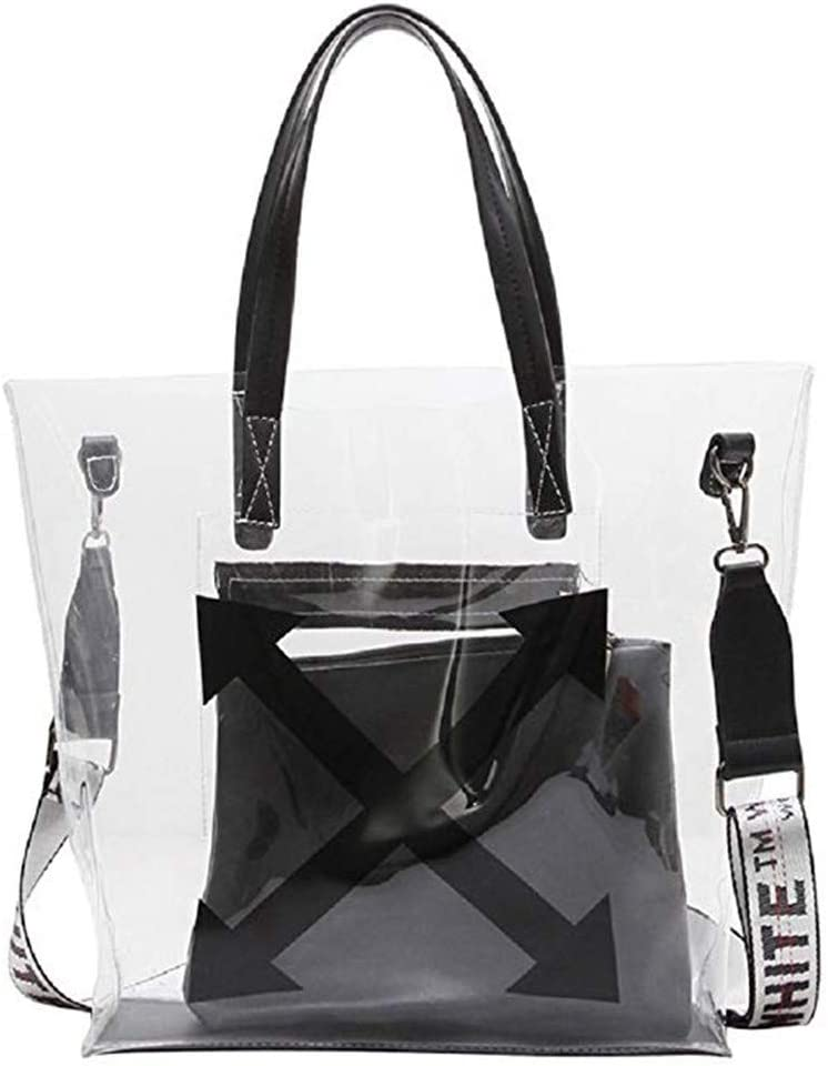 ALLHM Hand Bags Womens Transparent PVC PU Waterproof Enough Space Tote Bag Crossbody Shoulder Bag for Work Shopping Travel Daily Color : White, Size : OneSize
