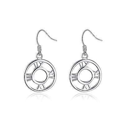 BODYA dangling elegant silver tone hollow 3 Cicles oval Wave dangle Hoop hook Earrings xncvOhLrZh