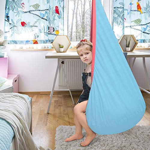 La fete Kids Hanging Seat Hammock with Two Handles 100% Cotton Child Hammock Chair Hanging Seat Nest, Child Swing Chair…
