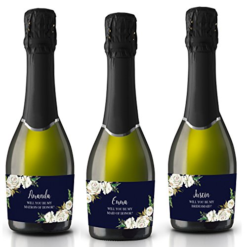 smaid stickers, Will you be my Maid of Honor, Matron of Honor, Mini Champagne Bottle labels- Dark Floral Design- set of 8 (Miniature Champagne Bottles)