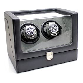 Heiden Vantage Double Watch Winder with LCD - Black Leather