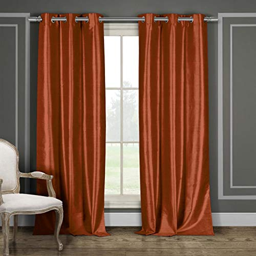 - Duck River Textiles Bali Faux Silk Grommet Top Window Curtain 2 Panel Drape, 38