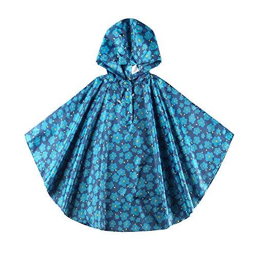 Flower Raincoat - Spring Fever Girls Kids Toddler Hooded School Backpack Rain Ponchos Jacket Raincoats Blue Flower L (Fit 47.24