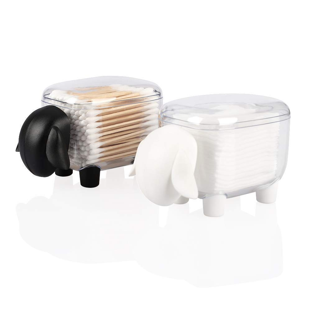 Agirlvct 2 Pack Cotton Ball and Swab Holder Organizer with Lid,Vanity Bathroom Jars,Q-Tips Swab Toothpick Dispenser Canister Organizer Birthday Thanksgiving Chirstmas Gift for Girl Make Up (Sheep)