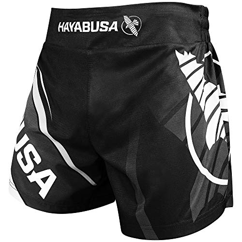 Hayabusa Kickboxing MMA Shorts (Black/White, 32)