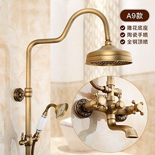 A Hlluya Professional Sink Mixer Tap Kitchen Faucet Retro with lifting the waterfall shower faucet and cold water showers sprinklers bathroom shower kit,