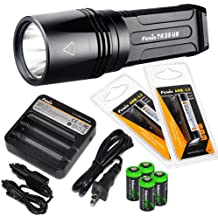 FENIX TK35 UE 2015 version (TK35 Ultimate Edition) 2000 Lumen CREE XHP 50 LED Tactical Flashlight with 2 x Fenix ARB-L2 2600mAh Li-ion rechargeable batteries, 4 X EdisonBright CR123A Lithium batteries, Fenix ARE-C1 18650 batery charger, in-car Charger adapter, Holster & Lanyard complete package