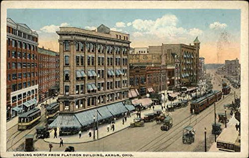 (Looking North from Flatiron Building Akron, Ohio Original Vintage Postcard)