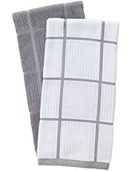 T-Fal Textiles Woven Solid & Checked Parquet Design, Highly Absorbent 100% Cotton Kitchen Dish Towel, 16-inch by 26-inch, Set of 2, Gray