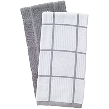 T-Fal Textiles 60954 2-Pack Solid & Check Parquet Design 100-Percent Cotton Kitchen Dish Towel, Gray, Solid/Check-2 Pack