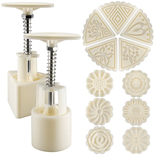 Cake Press (2 Sets Mooncake Mold Press 50g with 11 Stamps, SENHAI Flower and Triangle Shape Decoration Tools for Baking DIY Cookie - White)