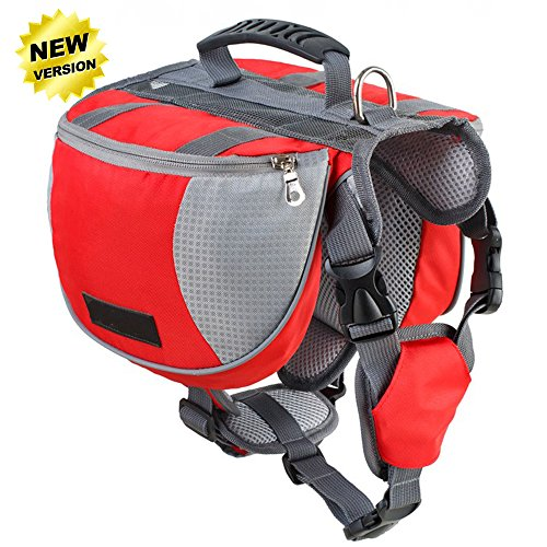 Lifeunion Adjustable Service Dog Supply Backpack Saddle Bag for Camping Hiking Training (Red, L)