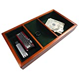 key trays for dressers - Launch Innovative Products Walter Wooden Valet Tray - 3 Compartment Leatherette Organizer Box for Wallets, Coins, Keys, and Jewelry