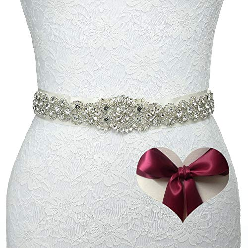 KunLai Bridal Crystal Rhinestone Wedding Dress Sash Belt with Burgundy Ribbon