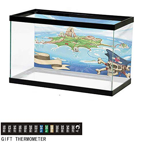 (wwwhsl Aquarium Background,Island Map,Aerial View Fantasy Pirate Cove Island with Crossbones and Captain Skull Figure,Multicolor Fish Tank Backdrop 72