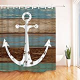 Anchor Shower Curtain Bathroom Shower Curtain Nautical Anchor Shower Curtains with 12 Hooks Fabric Bathroom Curtain Durable Waterproof Anti-Mildew Bath Curtain Sets