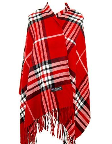 Cashmere Nova Check - 2PLY 100% Cashmere Blanket Oversized Scarf OS Tartan Nova Check Scotland Wool Plaid (Red Black White Nova Tartan Check Plaid)