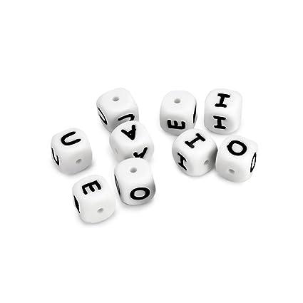 RUBY - Pack de 10 letras de silicona para bebe, cuentas silicona, las letras son a elegir, para hacer chupeteros, collares, sonajeros, llaveros ...