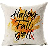 "Happy Fall Y'all Leaf Throw Pillow Case Cushion Cover Decorative 18"" x 18"""