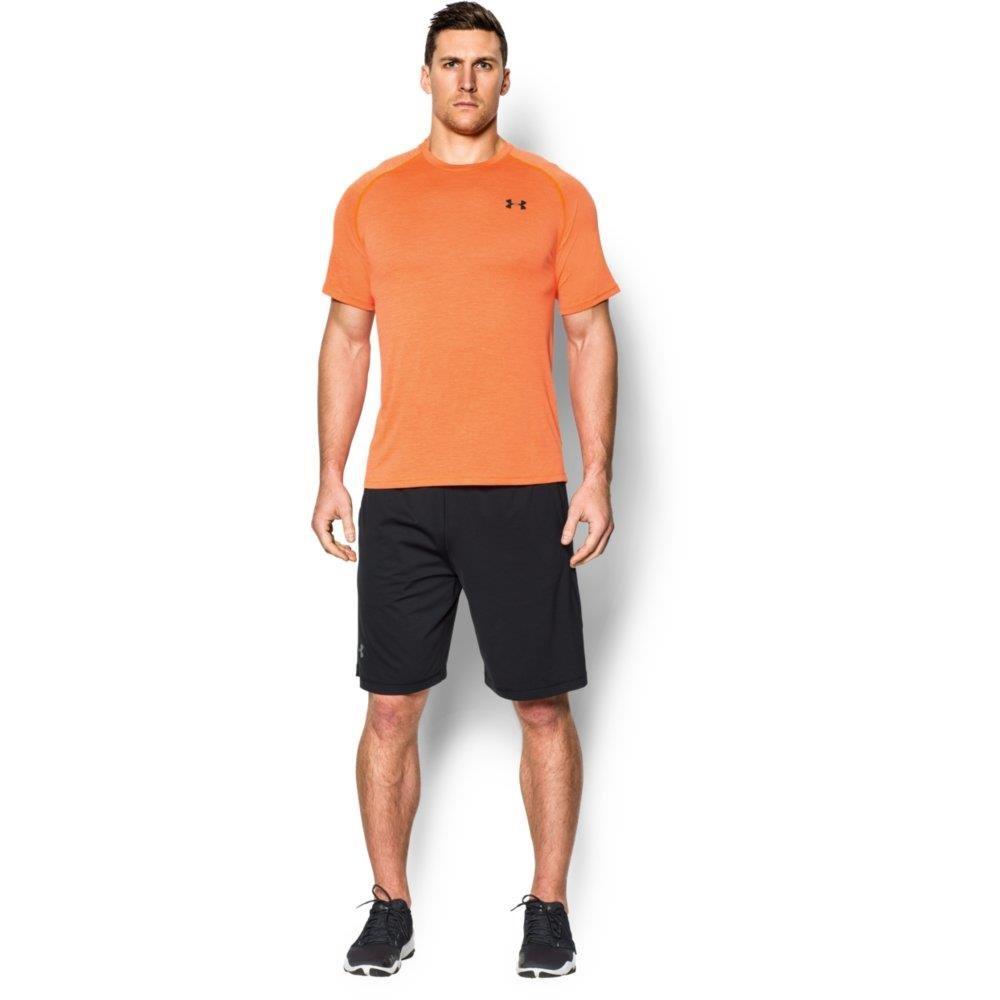 Under Armour Men's Tech Short Sleeve T-Shirt, Beta Orange /Stealth Gray, Medium