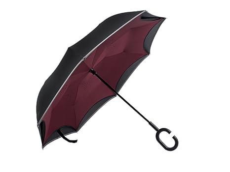 Paraguas invertido, con la Tira Raya Reflexiva, Doble Capas Protección UV a Prueba de