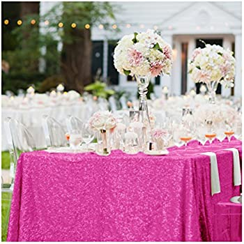 ShinyBeauty Rectangle Sequin Tablecloth 60x102 Inch Hot Pink 5FT Table Linen