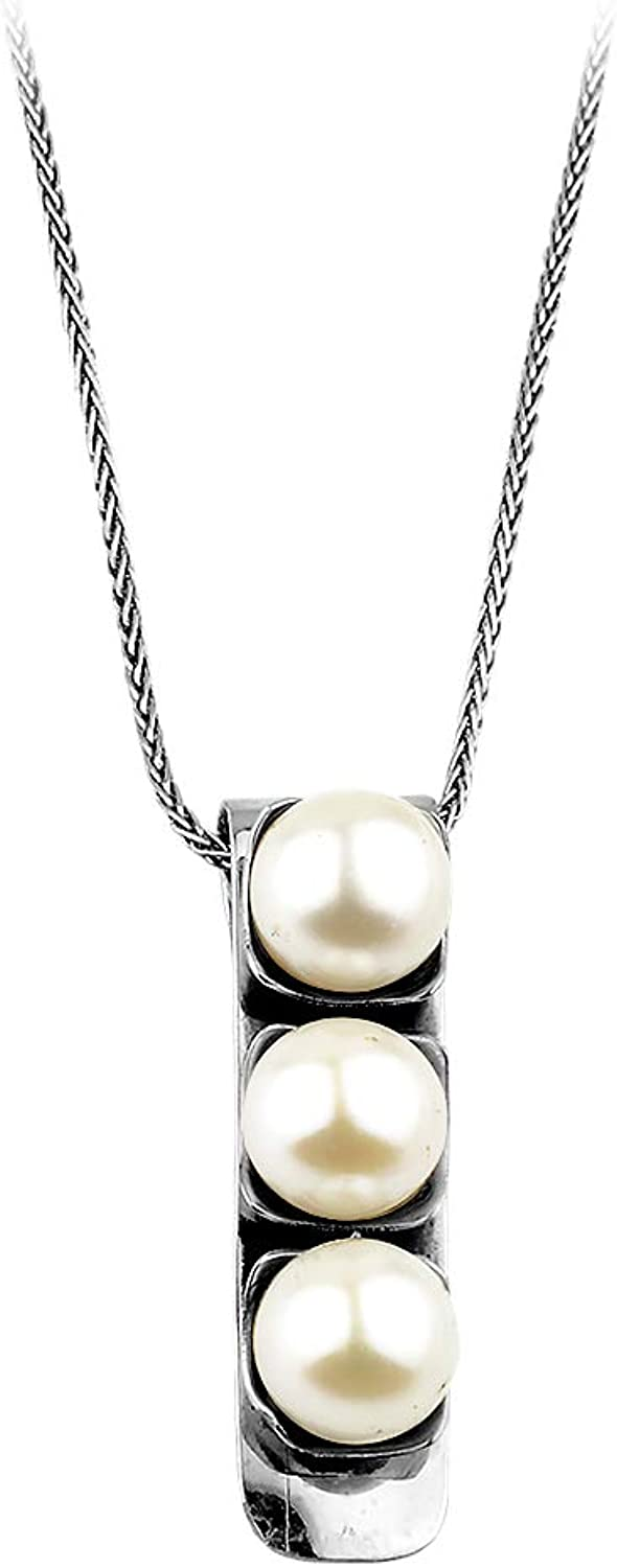 Nebishy June Birthstone Freshwater Cultured Pearl Sterling Silver Necklace Pendant for Women Cultured Pearls 8-10mm