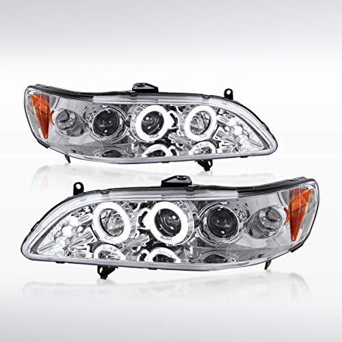 Autozensation For Honda Accord 2Dr 4Dr Chrome Halo Projector LED Headlights Pair