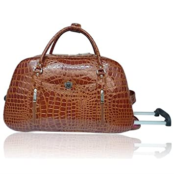 Ladies Womens LYDC Croc Travel Luggage Holdall Wheeled Trolley ...