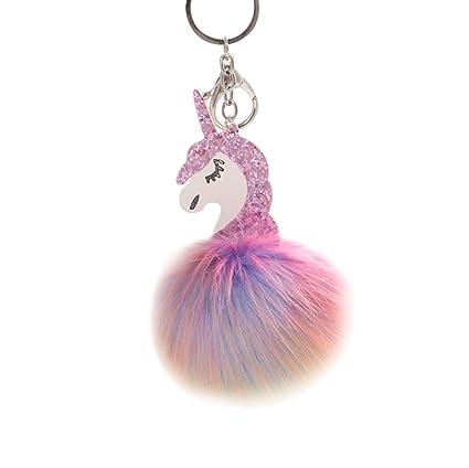 Oyfel Metal llavero Trousseau puerto clave de la unicornio Internet Mujer Niña bola de zorro de peluche coche recuerdo regalo colgante accesorios de ...