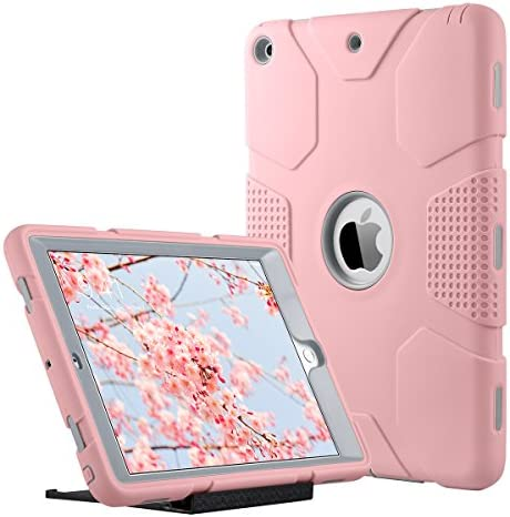 ULAK iPad 9.7 inch 2018/2017 Case, [Armor series] Heavy Duty Shockproof Protective Cover with Stand Function 3 in 1 Soft Silicone + Hard PC Case Cover for Apple iPad 9.7 inch 2018/2017 – Rose Gold